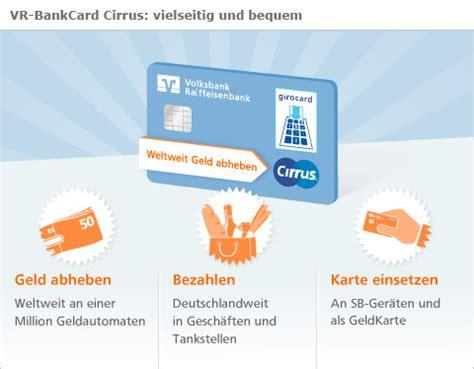 cirrus karte infos gebuehren ausland volksbank card