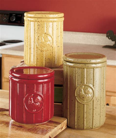 country kitchen canisters set of 3 speckled rooster canisters country kitchen