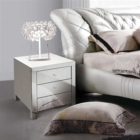 glass bedroom furniture foxhunter mirrored furniture glass bedside cabinet table