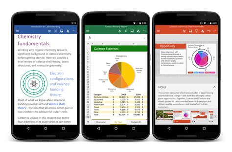 free for android phone microsoft releases word excel and powerpoint for android