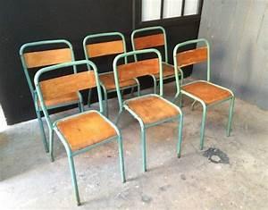 Chaise D école : ensemble 6 chaises d 39 cole tolix vertes ~ Teatrodelosmanantiales.com Idées de Décoration
