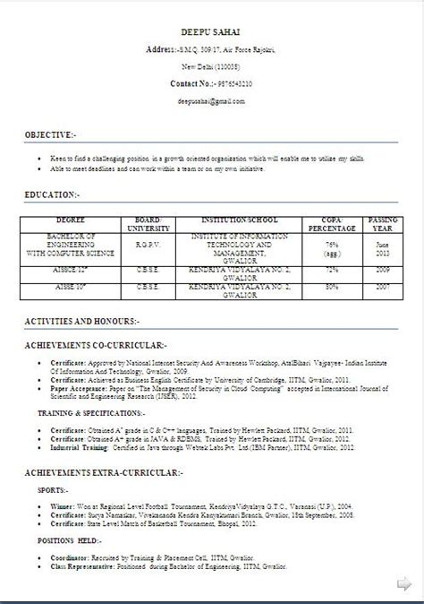 Coding Fresher Resume Format by Excellent Resume Format For Computer Science And