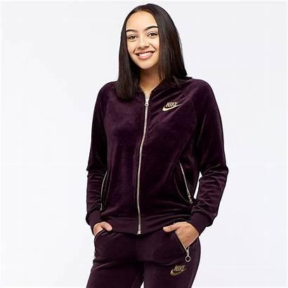 Womens Nike Velour Jacket Sportswear Clothing Wine