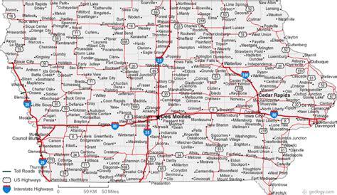 map  iowa cities iowa road map