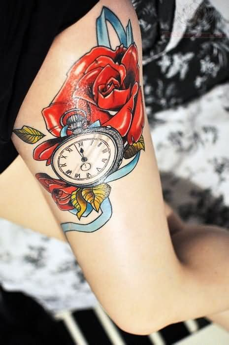 beautiful red rose  clock tattoo  thigh