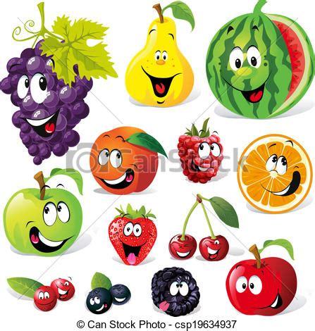 clipart frutta divertente frutta cartone animato divertente isolato