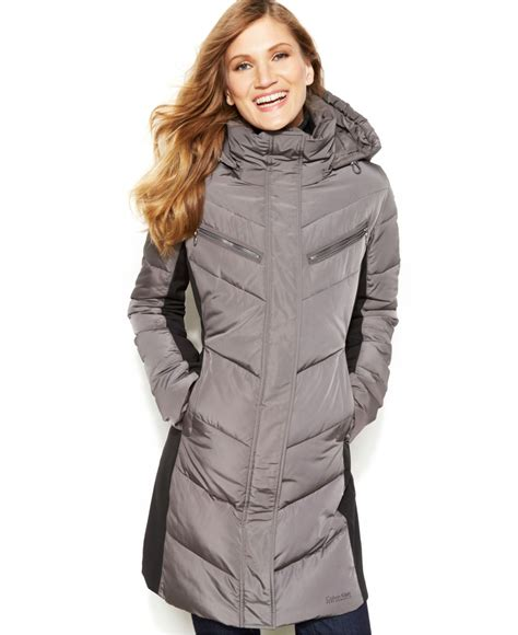 Calvin klein Hooded Quilted Colorblock Puffer Coat in Gray | Lyst