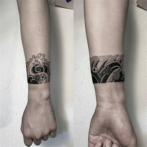 japanese wave cuff  oozytattoo tattoos
