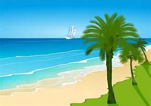 Cartoon beach scenery – vector material | My Free ...