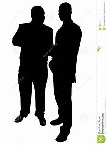 Silhouette With Clipping Path Of Two Businessmen Talking ...