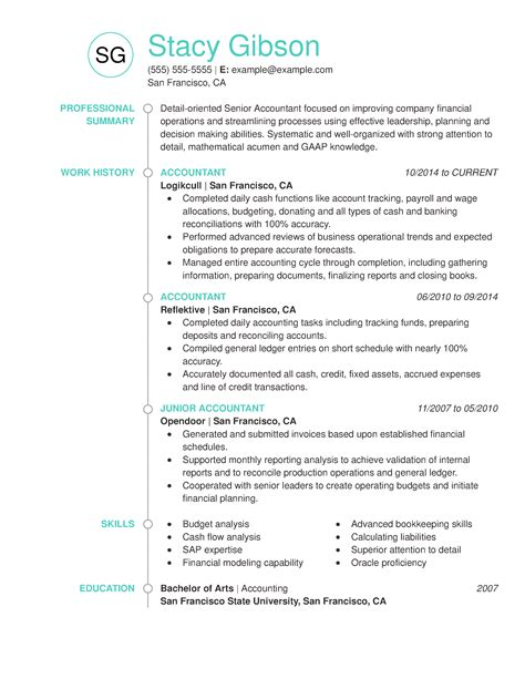 Chronological Resume Of An Accountant by Accountant Resume Exles Created By Pros Myperfectresume