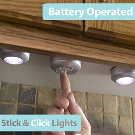 battery operated kitchen lights pixnor 6pcs battery powered stick on click 3 leds 4348