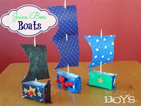 and crafts ideas for boys summer day c juice box boats the joys of boys