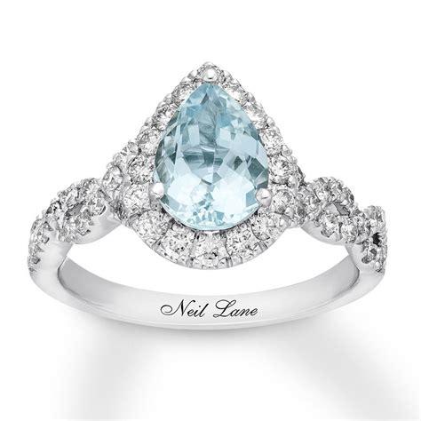 kay neil lane aquamarine engagement ring  cttw diamonds  gold aquamarine engagement