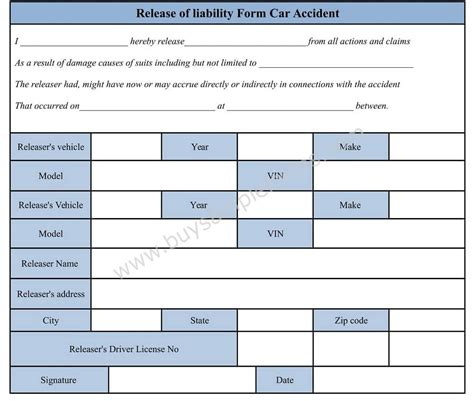 car accident waiver  release  liability form