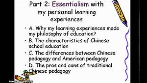 My Philosophy Of Education Essentialism