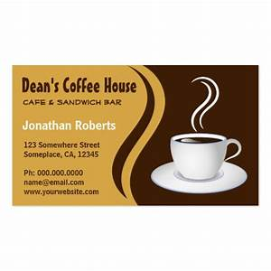 Brown and beige coffee shop cafe business cards business for Coffee business cards