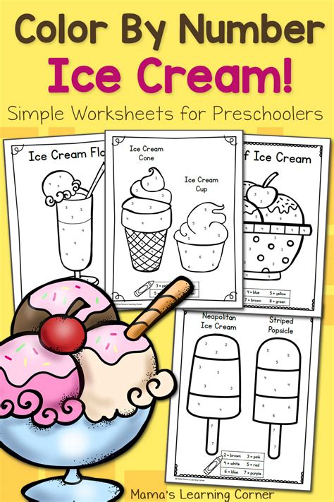color  number worksheets  preschool ice cream mamas learning corner