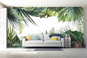 papier peint trompe loeil jungle tropicale nouveaute With deco salon papier peint