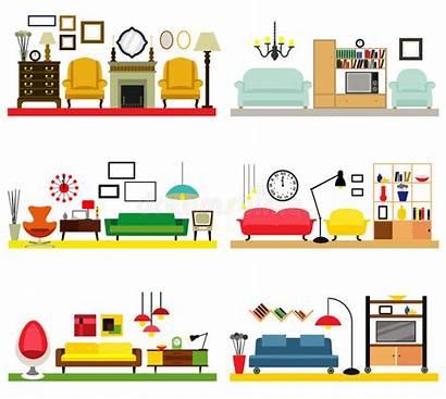 Cartoon Living Furniture Rooms Flat Vector Illustration