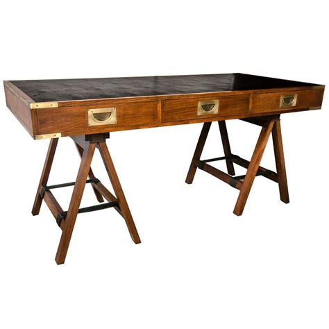 paduck wood campaign desk  brass hardware