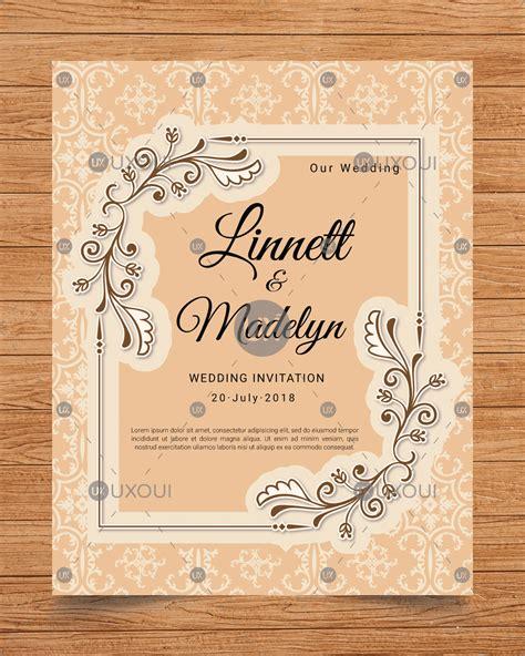 Wedding vintage invitation card design template vector UXoUI