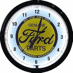 Ford trademark logo brushed aluminum electric neon wall