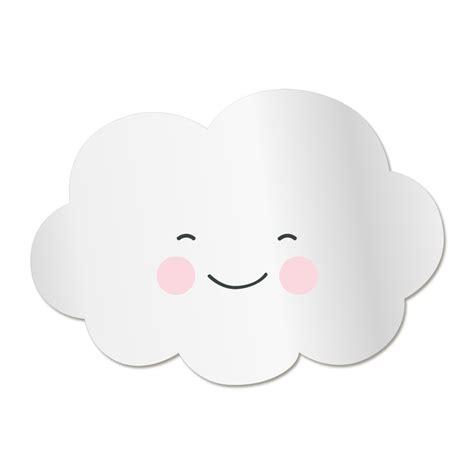 chambre gris et bleu miroir enfant nuage sourire