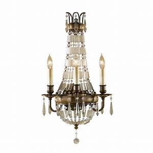 Chandelier style wall sconce antique dark bronze with crystal
