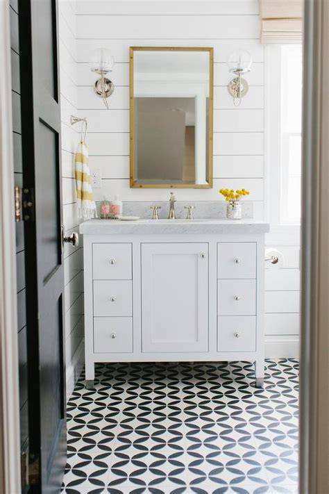 white bathroom  yellow accents transitional bathroom