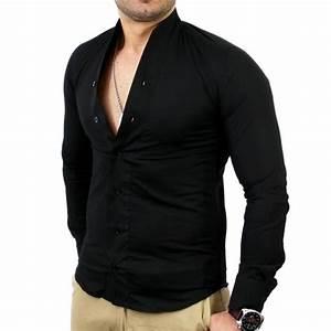 Chemise Sans Col Homme : chemise homme col mao chemise tz9005 noir noir achat ~ Louise-bijoux.com Idées de Décoration