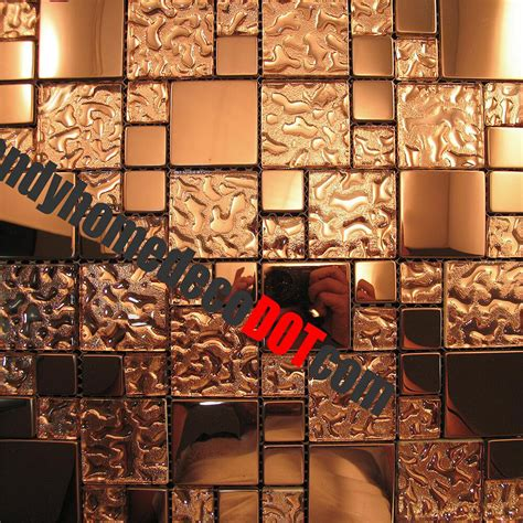 Glass Mosaic Tile Kitchen Backsplash by Sle Copper Metal Pattern Textured Glass Mosaic Tile