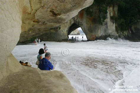 Just our Pictures ~ Cathedral Cove, big waves ~ Coromandel Peninsula