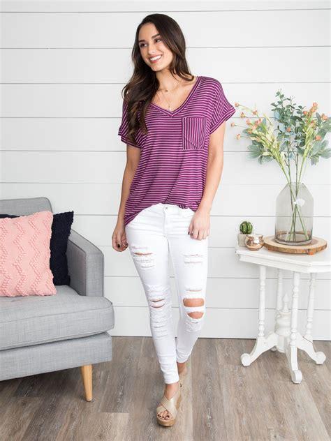 vienna stripe  neck tee violet  images cute