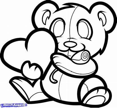Drawing Girlfriend Teddy Bear Line Easy Valentine