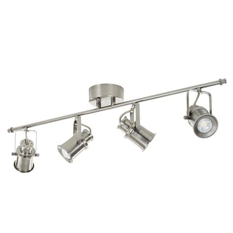 brushed nickel track lighting kits hton bay 4 light brushed nickel led dimmable fixed