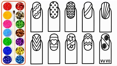 glitter nail art drawing  coloring pages  youtube