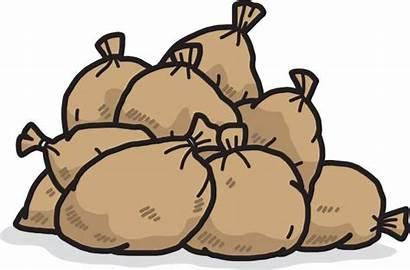 Pile Sand Bags Brown Sacks Illustrations Clip