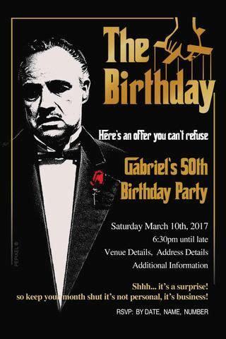 godfather  birthday invitations birthday party