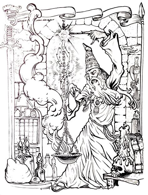 myths legends coloring pages  adults coloring merlin