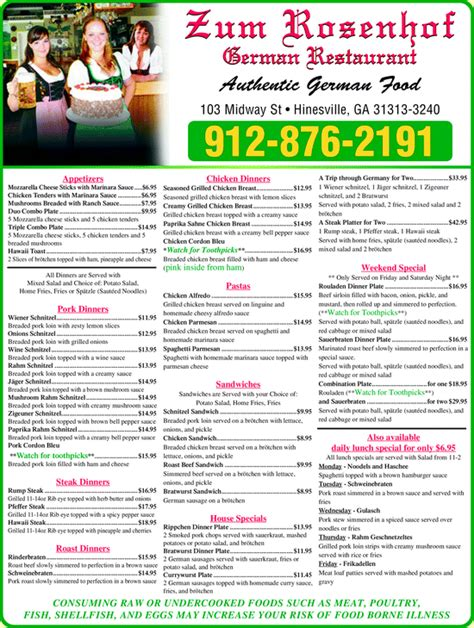 german cuisine menu zum rosenhof german restaurant hinesville ga 31313 3240