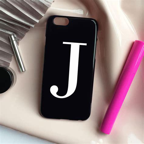 glossy black white alphabet phone case