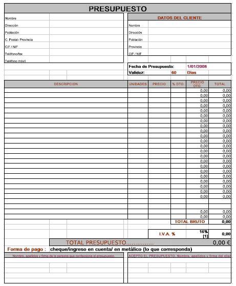 resultado de imagen para formatos de presupuestos basico metal presupuesto hojas de