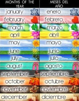 Bilingual Months of the Year Poster - Spanish and English ...