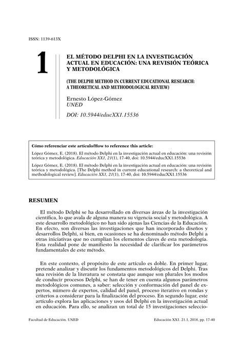 pdf el m 233 todo delphi en la investigaci 243 n actual en educaci 243 n una revisi 243 n te 243 rica y metodol 243 gica