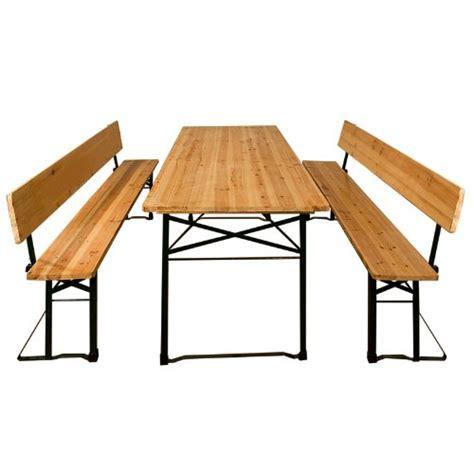 table pliable et 2x bancs avec dossier salon de jardin
