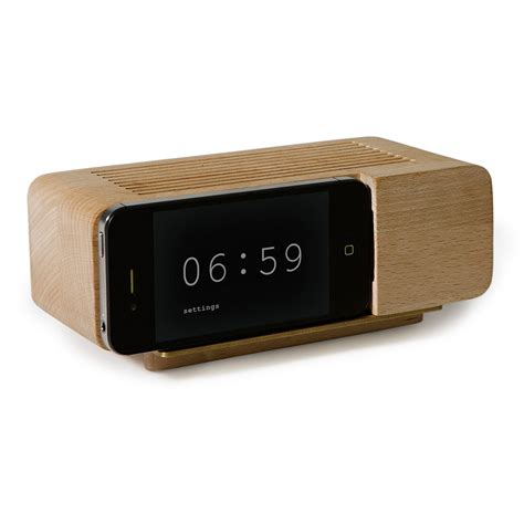 iphone wooden alarm clock the green