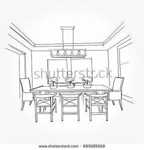 Linear Sketch Interior Sketch Line Dining Stock Vector ...