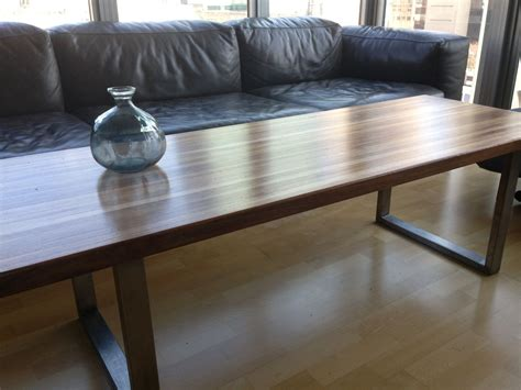 bench coffee table custom made walnut stainless steel butcher s block