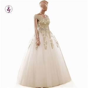 rsm66133 gold wedding dress robe de mariee cap sleeves With gold wedding dresses with sleeves
